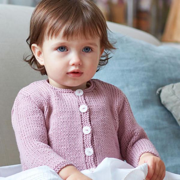 Girls Round Neck Cardigan Pattern in DMC® 100% Baby Cotton