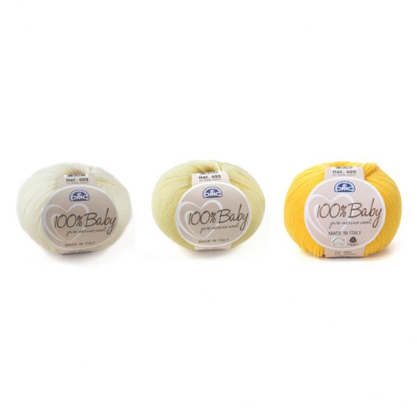 DMC 100% Baby Wool Yarn Color Pack (Baby Yellow Shades)