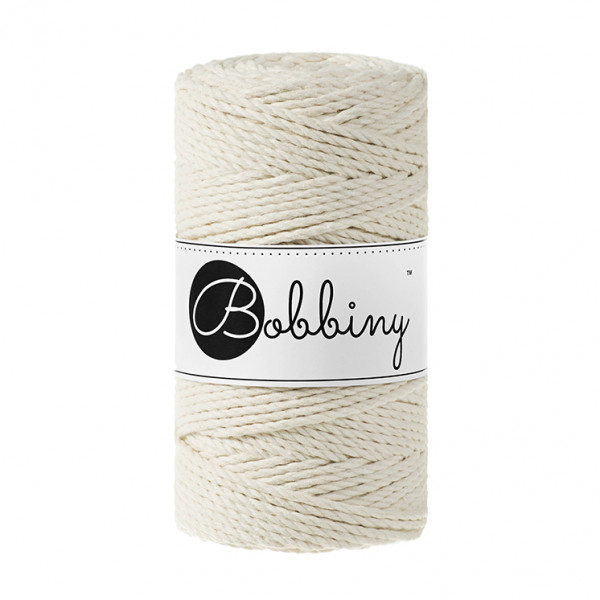 Bobbiny Premium Macramé Rope, Natural, 3 mm.