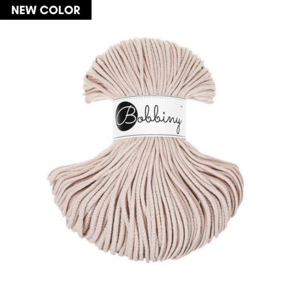 Bobbiny Premium Macramé Cord Yarn, Nude, 3 mm.