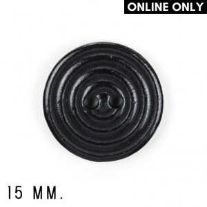 15 mm. Plastic Buttons, Pack of 8, Black
