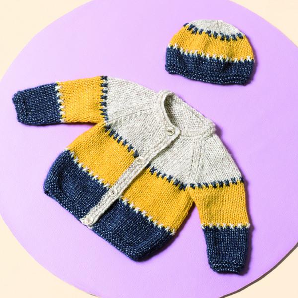Bergere de France Cocooning Pattern - Three Color Cardigan & Hat