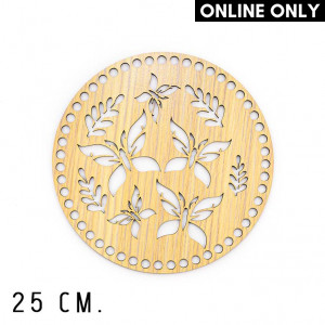 wone 25 cm. Wood Base for Crochet, Round, Butterfly, Wood, Beige