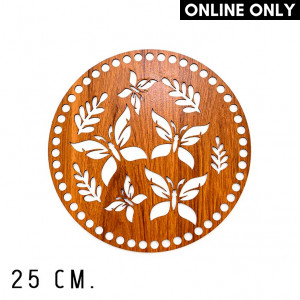 wone 25 cm. Wood Base for Crochet, Round, Butterfly, Wood, Brown