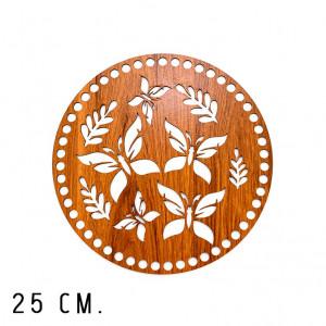 Handmayk 25 cm. Wood Base for Crochet, Round, Butterfly, Wood, Brown