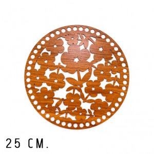Handmayk 25 cm. Wood Base for Crochet, Round, Flower, Wood, Brown