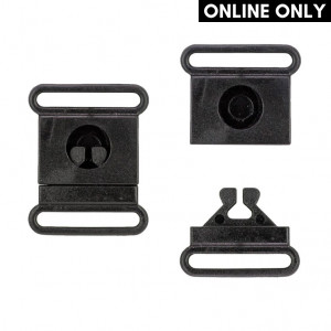 Handmayk Center Release Plastic Buckle, Black, Pack of 4
