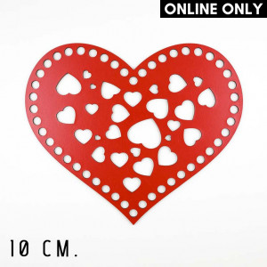 Handmayk 10 cm. Wood Base for Crochet, Heart, Bunch of Hearts, Wood, Red