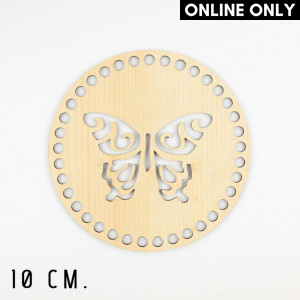 Handmayk 10 cm. Wood Base for Crochet, Round, Butterfly, Wood, Beige