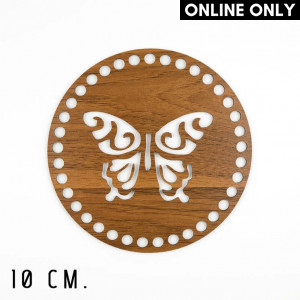 Handmayk 10 cm. Wood Base for Crochet, Round, Butterfly, Wood, Brown