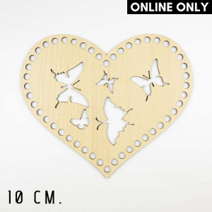 Handmayk 10 cm. Wood Base for Crochet, Heart, Butterfly, Wood, Beige
