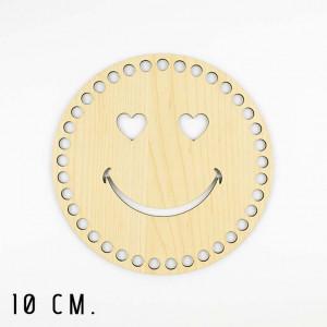 Handmayk 10 cm. Wood Base for Crochet, Round, Heart Smile, Wood, Beige