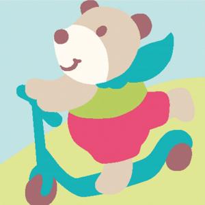 DMC Half Stitch Tapestry Kit - Teddy Bear Riding a Scooter