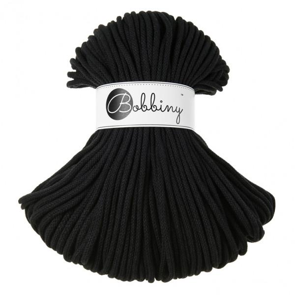 Bobbiny Premium Macramé Cord Yarn, Black, 5 mm.