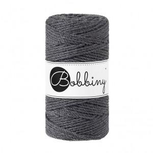Bobbiny Premium Macramé Rope, Charcoal, 3 mm.