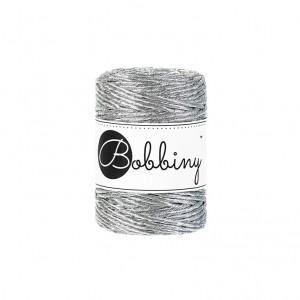 Bobbiny® Premium Macramé String, Metallic Silver, 3 mm.