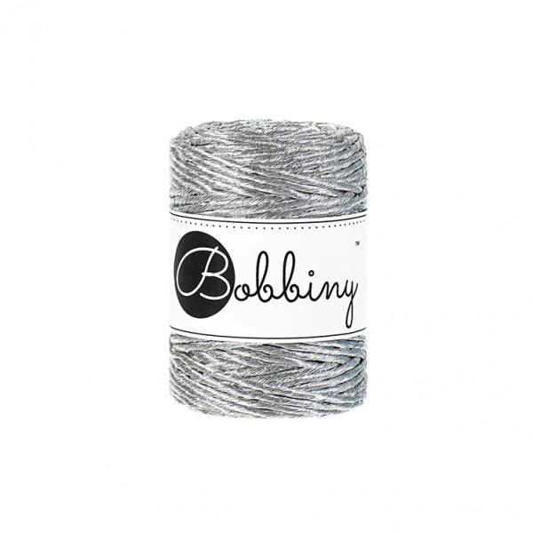 Bobbiny Premium Macramé String, Metallic Silver, 3 mm.