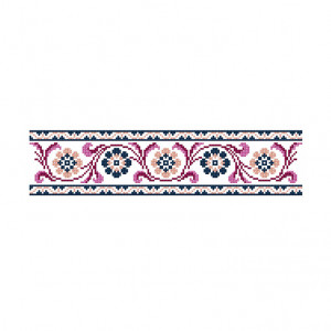 Antique Floral Banner Pattern in DMC® Mouliné Spécial®