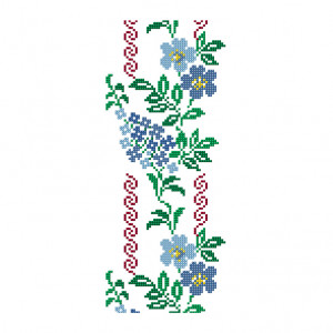 Blue Climbing Flower Pattern in DMC Mouliné Spécial