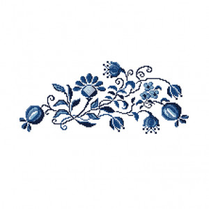 Indigo Bouquet Pattern in DMC® Mouliné Spécial®