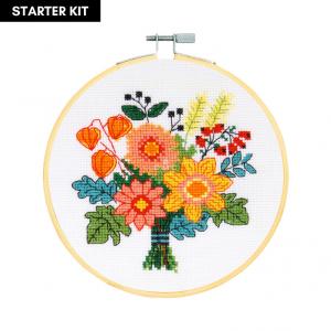 DMC Counted Cross Stitch Starter Kit - Autumn Bouquet