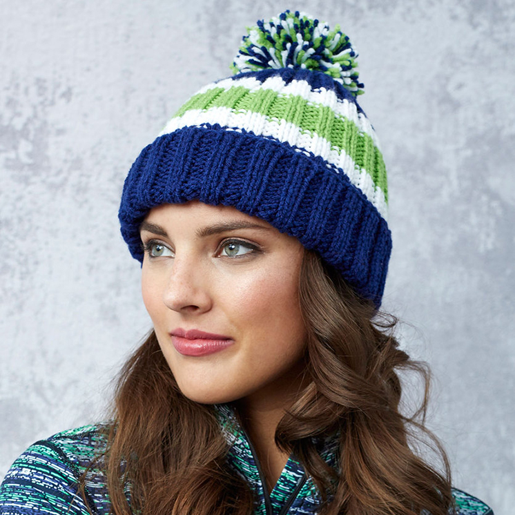 Game Day Knit Hat Pattern in Red Heart® Super Saver® at Yarns Dubai ...