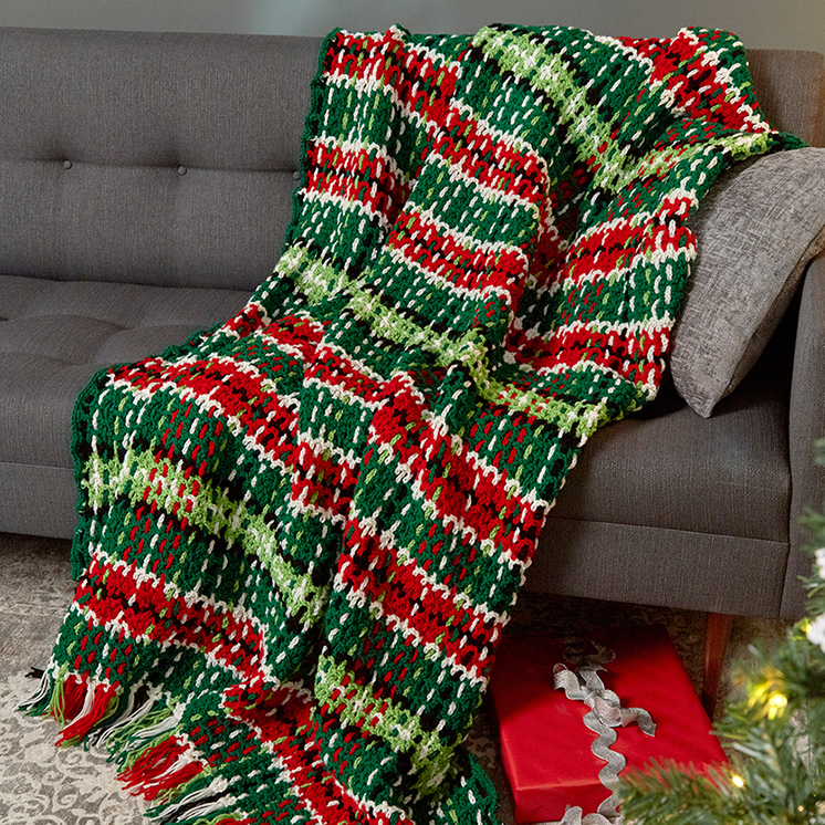 Plaid Christmas Blanket Pattern In Red Heart Super Saver At Yarns