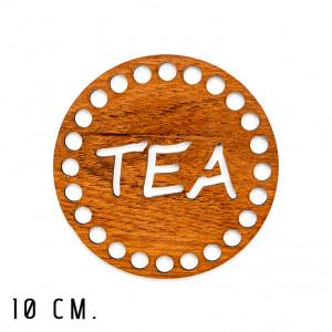 Handmayk® 10 cm. Wood Base for Crochet, Round, Tea, Wood, Brown