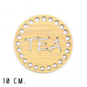 Handmayk® 10 cm. Wood Base for Crochet, Round, Tea, Wood, Beige