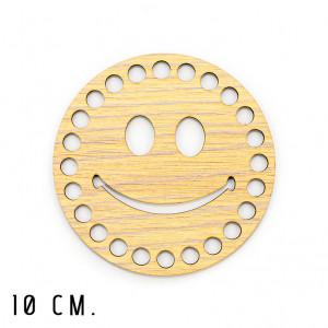 Handmayk® 10 cm. Wood Base for Crochet, Round, Smile, Wood, Beige