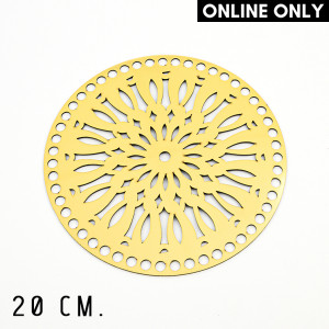 Handmayk® 20 cm. Plastic Base for Crochet, Round, Pattern 1, Plastic, Gold
