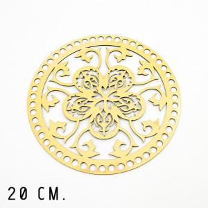 Handmayk® 20 cm. Plastic Base for Crochet, Round, Pattern 13, Plastic, Gold