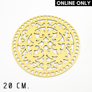 Handmayk® 20 cm. Plastic Base for Crochet, Round, Pattern 15, Plastic, Gold